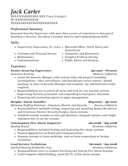 View Resume. Senior Security Supervisor
