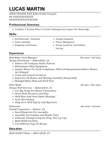 Ensign directional mud motor techmanager resume sample lucas martin companies malvernweather Choice Image