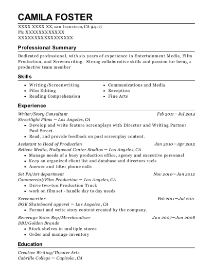 best screenwriter resumes resumehelp
