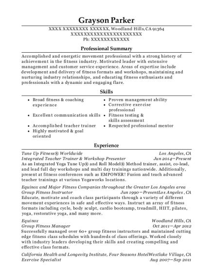 Best Group Fitness Manager Resumes | ResumeHelp