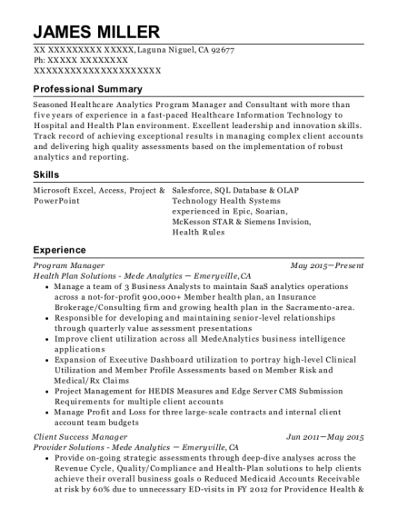 james miller - Customer Success Manager Resume