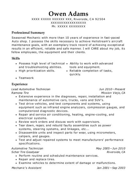 best lead automotive technician resumes resumehelp