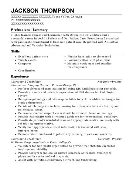best ultrasound technician resumes resumehelp