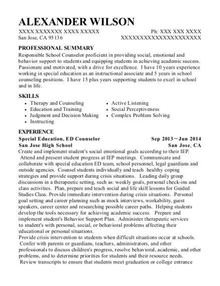 best summer school counselor resumes resumehelp