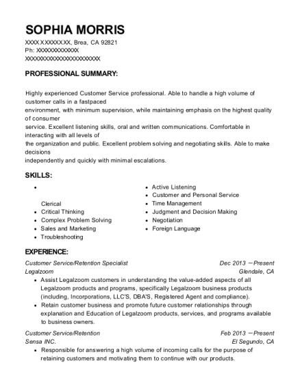 View Resume. Customer Service/Retention Specialist