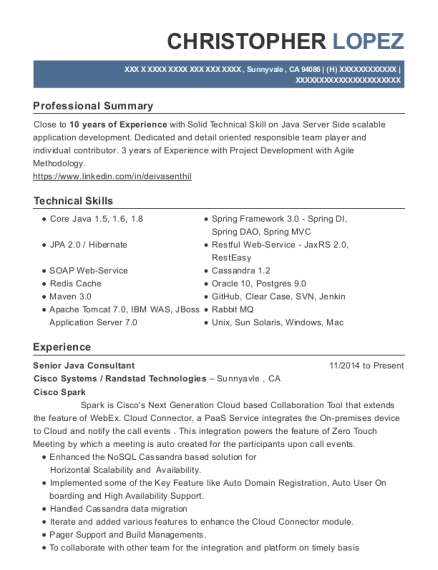view resume - Restful Web Services Resume