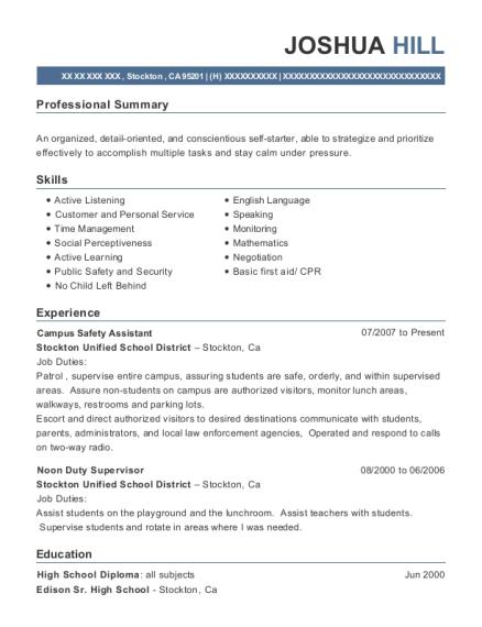 Lakeside Union School District Noon Duty Supervisor Resume Sample ...