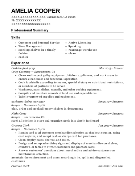The Atlantic And Pacific Tea Company Assistant Dairy Manager Resume ...