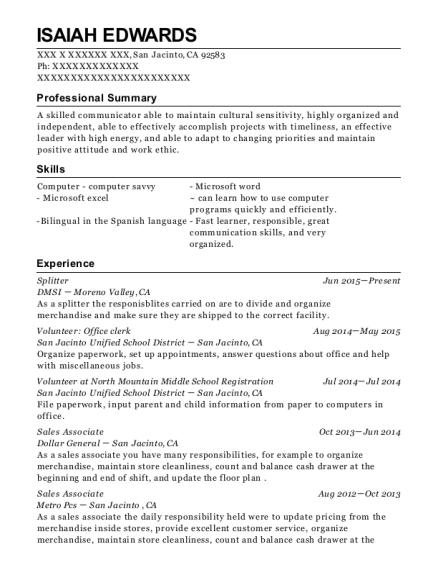 Dmsi Splitter Resume Sample - San Jacinto California   ResumeHelp