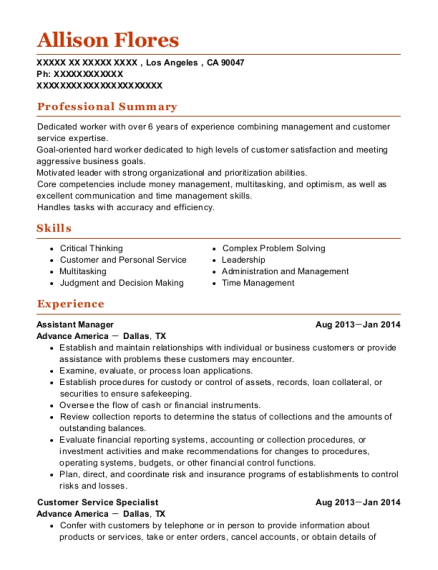 view resume assistant manager - Nursing Assistant Resume