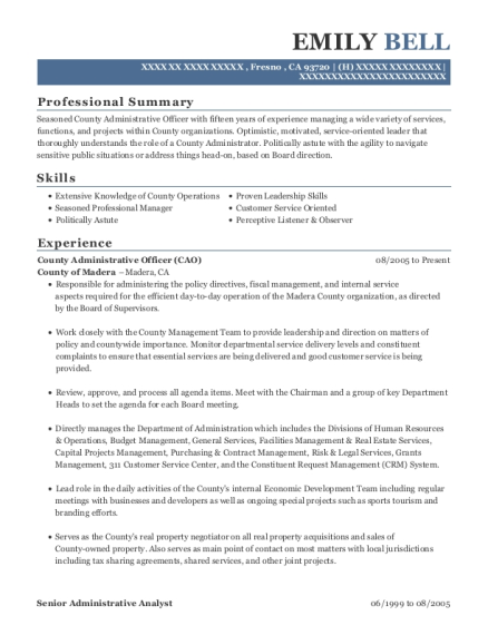 county of madera county administrative officer resume sample