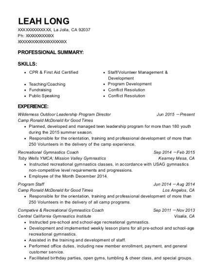 view resume wilderness outdoor leadership program director - Program Director Resume