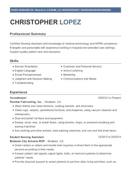 christopher lopez - Janitor Resume