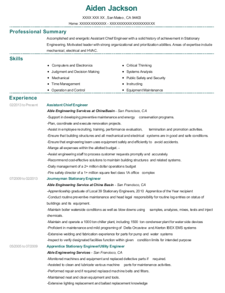 View Resume Assistant Chief Engineer
