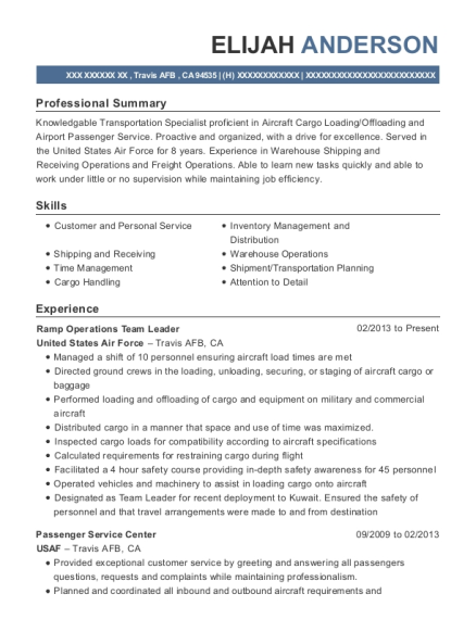 View Resume. Ramp Operations Team Leader