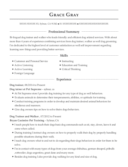 View Resume Dog Trainer