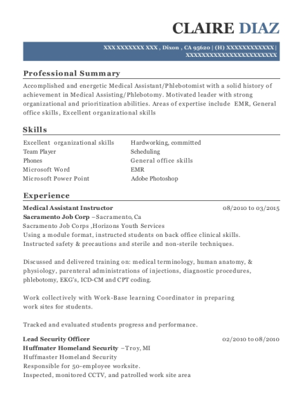 claire diaz - Medical Assistant Instructor Resume