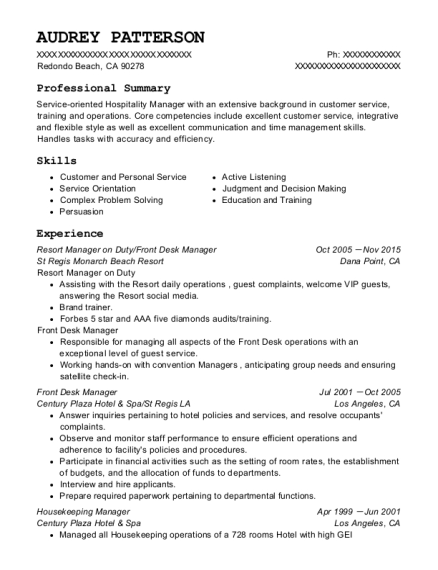 Audrey Patterson  Executive Housekeeper Resume
