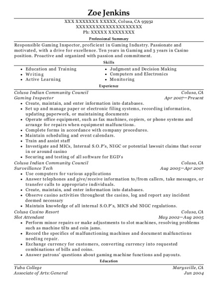 suquamish tribal gaming commission gaming inspector resume sample