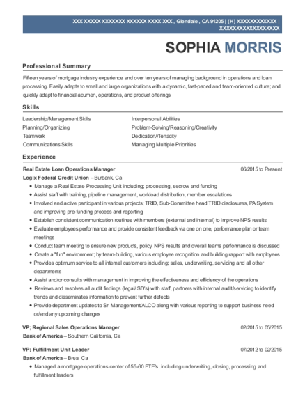 View Resume. Real Estate Loan Operations Manager