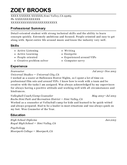 universal studios scareactor resume sample simi valley california