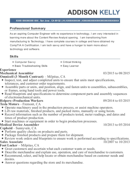 View Resume Mechanical Assembler