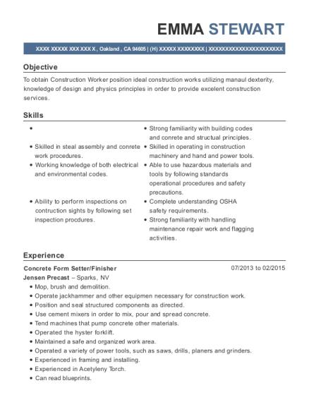 Best Concrete Form Setter Resumes | ResumeHelp