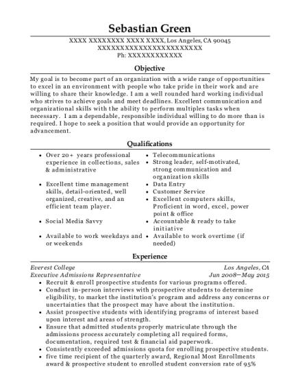 best executive admissions representative resumes resumehelp