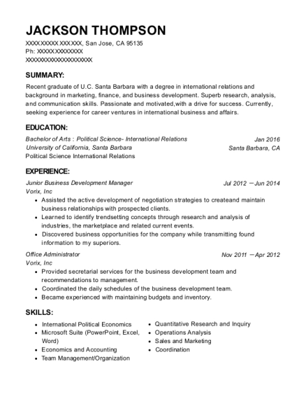 Vorix inc junior business development manager resume sample san view resume yelopaper Choice Image