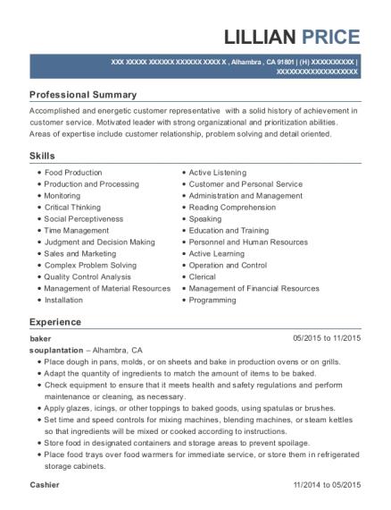View Resume. Baker