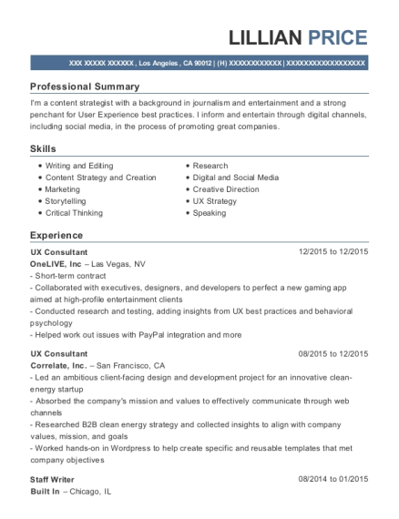 lillian price - Social Media Specialist Resume