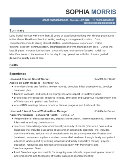 View Resume. Licensed Clinical Social Worker