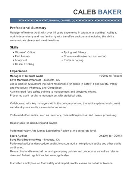 Best Manager Of Internal Audit Resumes Resumehelp
