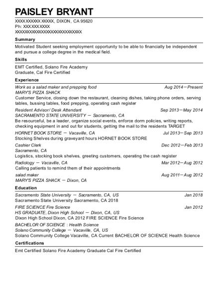 salad maker resume