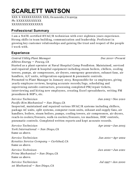 Albireo Energy Central Utility Plant Manager Resume Sample ...