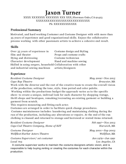people also search for customize resume view resume resident costume designer