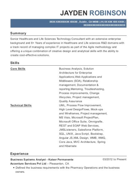 Best Business Systems Analyst Kaiser Permanente Resumes Resumehelp