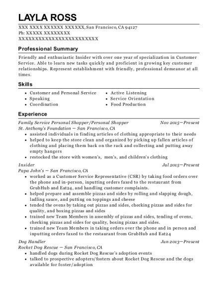 personal shopper resume