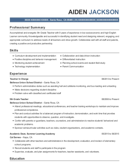 aiden jackson - Sample Resume For School Incharge