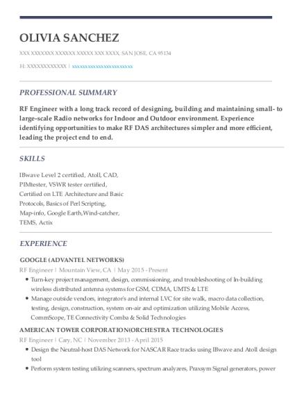 Olivia Sanchez  Rf Engineer Resume