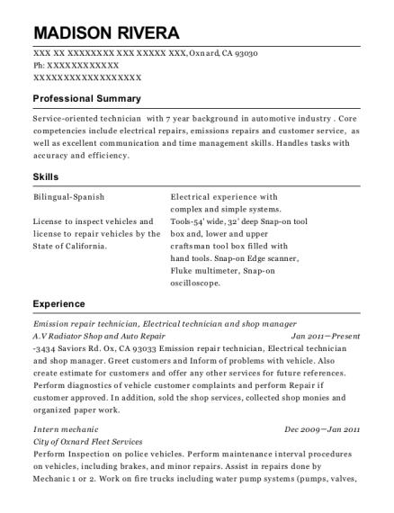Av Radiator Shop And Auto Repair Emission Repair Technician Resume ...