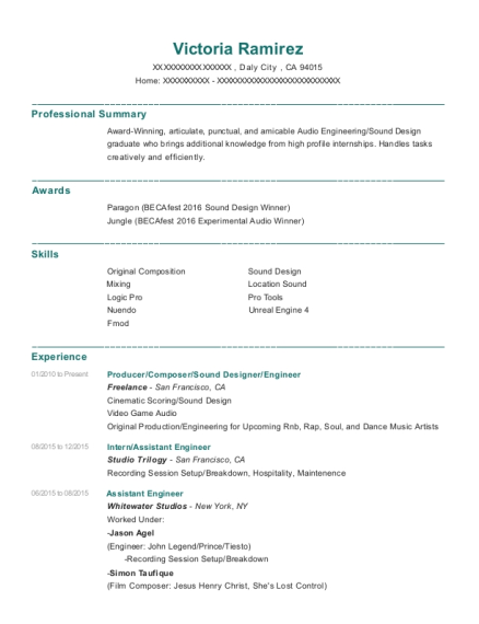 Best Sound Designer Resumes | ResumeHelp