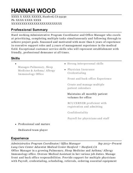View Resume Administrative Program Coordinator