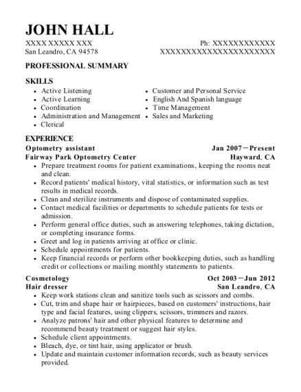 Best Optometry Assistant Resumes | ResumeHelp