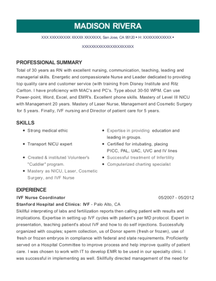 Best Ivf Nurse Coordinator Resumes | ResumeHelp
