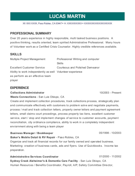 Waste Connections Collections Administrator Resume Sample - Paso ...