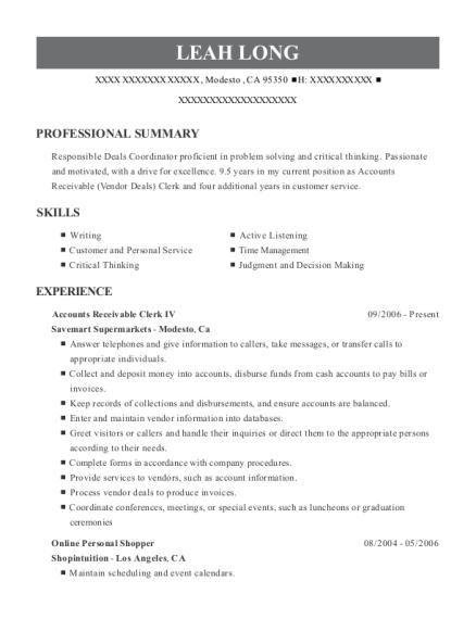 personal shopper resume sample