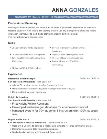 san jose state university interactive media manager resume sample
