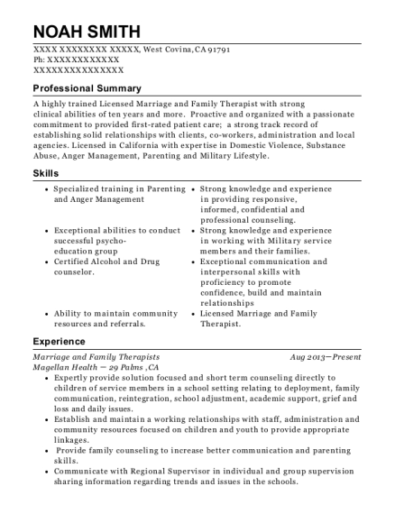 View Resume. Marriage And Family Therapists