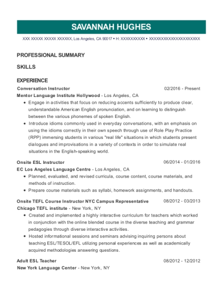 Best Onsite Tefl Course Instructor Nyc Campus Representative Resumes ...